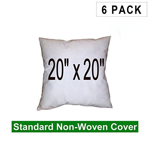 (6 Pack) Pillow Inserts 20 x 20 Square -100% polyester fibre filled Hometex