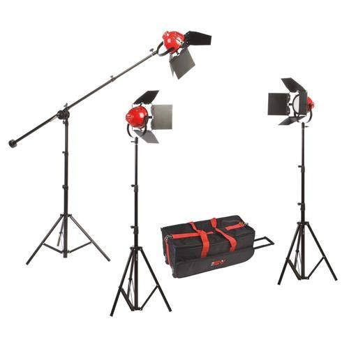 (Smith Victor Ladybug 1500 LED 3-Light Kit with Boom Arm)