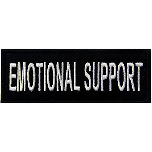 Emotional Support Service Animal Vests/Harnesses Emblem Embroidered Fastener Hook & Loop Patch, 4 X 1.5 Inch