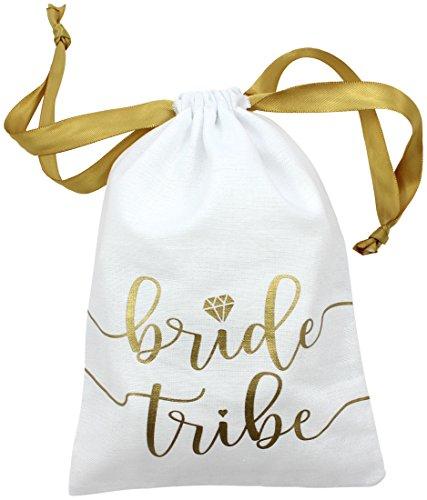10pc Bride Tribe Drawstring Bags w/ Satin Ribbon,