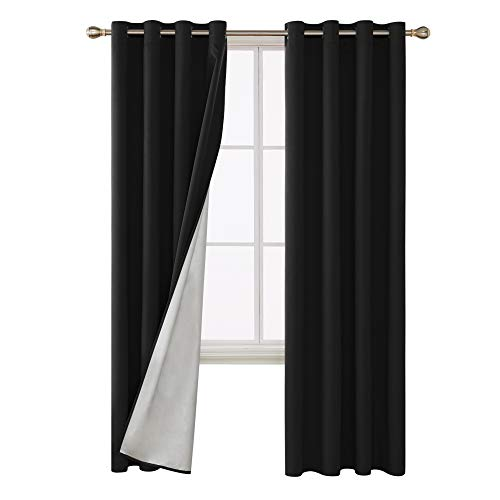 (Deconovo Light Blocking Thermal Insulated Drapes Grommet Top Blackout Curtains with Silver Lining Back Fabric Draperies for Living Room 52W x 84L Inch Black Set of 2 Panels)