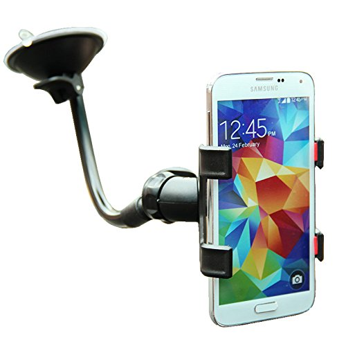 SQDeal Universal 360° Rotating Flexible Double Clip Car Windshield Mount Holder Stand Bracket for iphone Samsung Galaxy and more smartphone - Black