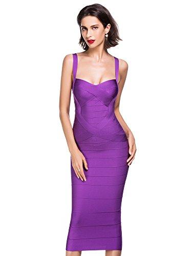 Alice & Elmer Mujers Rayon Knee Rodilla Evening Noche Bandage Vendaje Bodycon Party Club Dress Vestido, Vestido para Mujer Purple