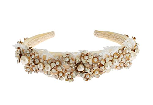 Gethuda Fashions White Beige Silk Floral Lace Crystal Headband Hair Diadem by Gethuda Fashions