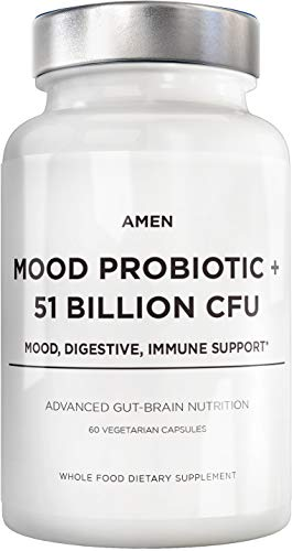 Amen Mood Probiotics + 51 Billion CFU – Mood Digestive & Immune Support – Acidophilus Probiotic Supplement – Promotes Emotional Health, Relaxation, Digestive Balance, Gluten Free – 60 Veggie Capsules
