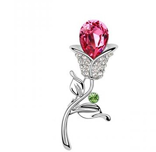 (CNCbetter Women's Noble Swarovski Elements Crystal Rose Red Tulips Brooch Pin White Gold Plated )