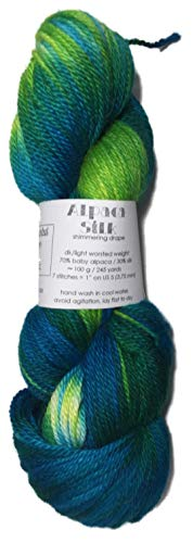 Hand Dyed Alpaca Silk Yarn, Hand Painted: Anasazi, Dk Weight, 100 Grams, 245 Yards, 70/30 Baby ()