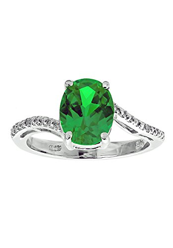 Sterling Silver Lab-created Emerald Ring with Diamond Accent Ring, Size 8