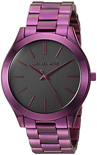 Michael Kors Women's 'Slim Runway' Quartz Stainless Steel Casual Watch, Color:Purple (Model: - Michael Kors Purple