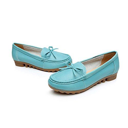 Zapatos de Mujer Zapatos de Guisantes Primavera Otoño Zapatos Madre Cuero Plano Suave Bottom Zapatos de Guisantes de Gran tamaño Transpirables Mujeres (Color : Azul, tamaño : 40) Azul