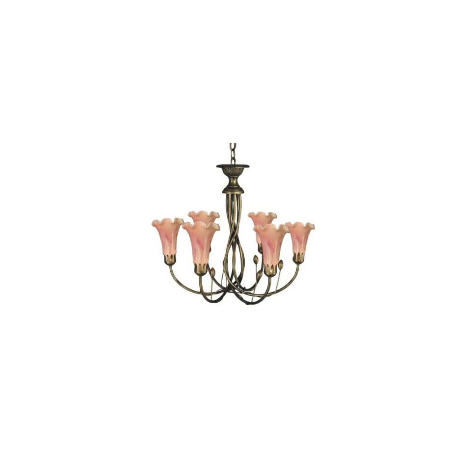 Dale Tiffany TH60360 Victoria Lily Light Fixture, Antique Brass/Mahogany and Glass Shade