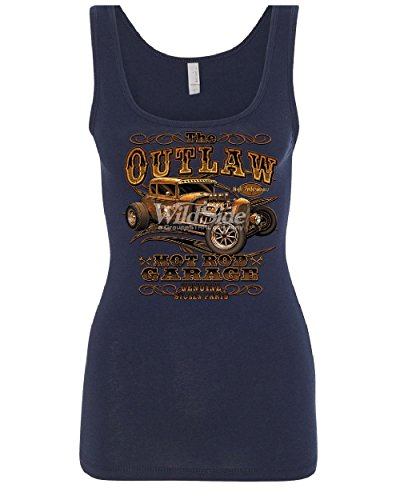 The Outlaw Hot Rod Garage Women's Tank Top Performance American Muscle Top Navy Blue L