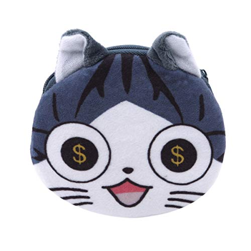 Beiswe Creative Plush Doll Coin Bag Cute Cartoon Lucky Cat Purse Wallet Key Cosmetic Storage Bag for Children Kids Girls Gift (Style 1)