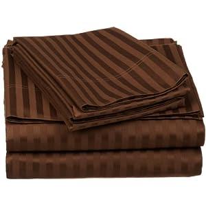100% Egyptian Cotton 650 Thread Count Twin XL 3-Piece Sheet Set, Deep Pocket, Single Ply, Stripe, Chocolate