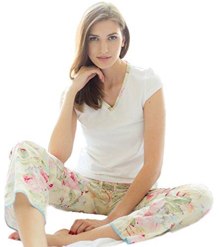 Cotton Real - Ensemble de pyjama - Femme Multicolore Motif floral Medium