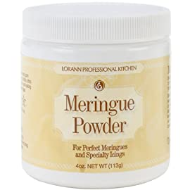 Lorann meringue powder 4 ounce 1 convenient and easy to use! Make perfect meringues and specialty icings with lorann's meringue powder - just add sugar and water. Powdered meringue can be used as a substitute for egg whites to make meringue cookies, shells and other desserts.  it's particularly useful in royal icing to add body and stability. Royal icing and meringue recipes included.