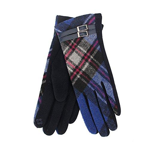 Tartan Traditions Royal Blue Tartan Gloves with Buckle