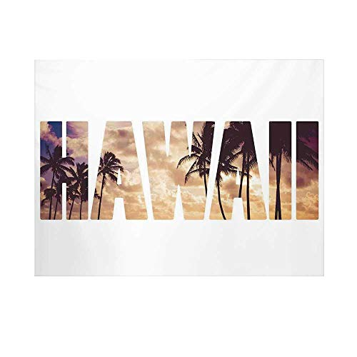 Hawaiian Photography Background,Tropic Silhouette Palm Trees at Sunset Cloudy Sky Hawaii Typography Skyscape Backdrop for Studio,15x10ft