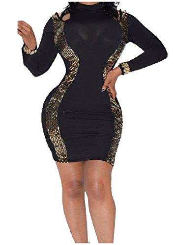 Abito Bodycon Coolred Paillettes Breve Prospettiva donne Nightclub Sexy Nero xqFH70nw