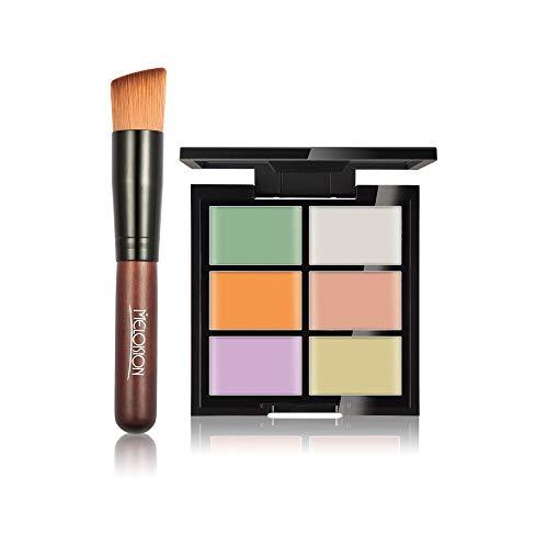 ☀ HUAMIANLI 6-Color Concealer Foundation Primer + Primer Combination Brush Skewers Long Lasting Makeup Finishing ()