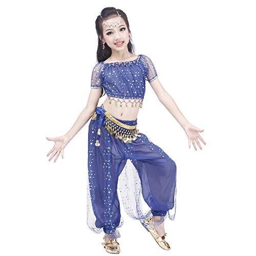 Maylong Girls Polka Dot Harem Pants Belly Dance Outfit Halloween Costume DW50 (Medium, Royal Blue) -
