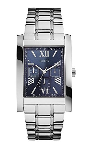 Guess W0484G2 Voyager Gents Watch Multifunction Blue Dial Silver Strap