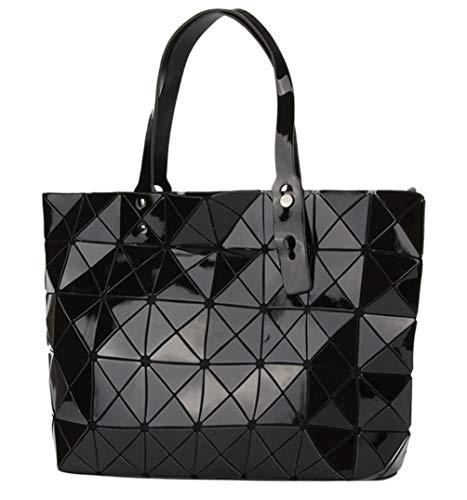 's Fashion Geometric Lattice Tote Glossy PU Leather Shoulder Bag Top-handle Handbags (Q2 Black) ()
