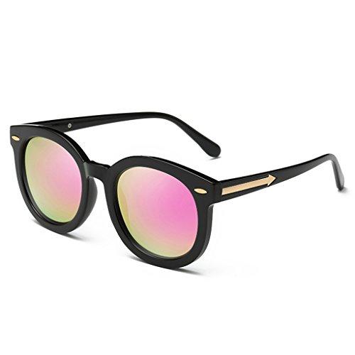 Clásico polarizado Gafas Retro Hembra UV400 Moda Pink de Wayfarer Elegante de Color sol Plata Protección 52mm La qzznwBrCtx
