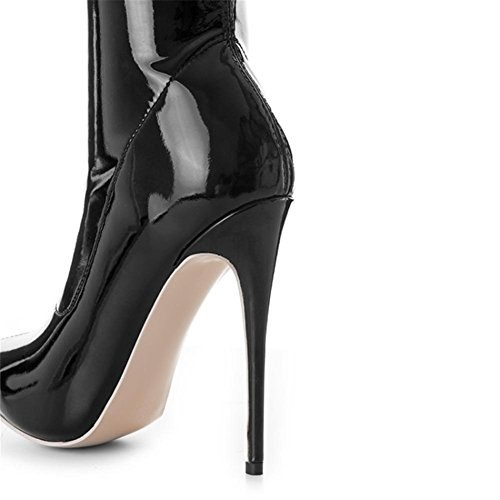 de Patente Punta Otoño de NVXIE sobre rodilla Estilete Tacón largas Botas Negro Damas Invierno mujer estrecha EUR42UK85 alto cuero Muslo fOqf6g