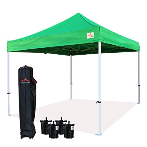 - UNIQUECANOPY Enhanced 10x10 Ez Pop up Canopy Instant Tent Outdoor Party Portable Folded Commercial shelter, with Wheeled Carrying Bag and Bonus 4 Sand Bags Green