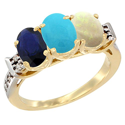 10K Yellow Gold Natural Blue Sapphire, Turquoise & Opal Ring 3-Stone Oval 7x5 mm Diamond Accent, size 10