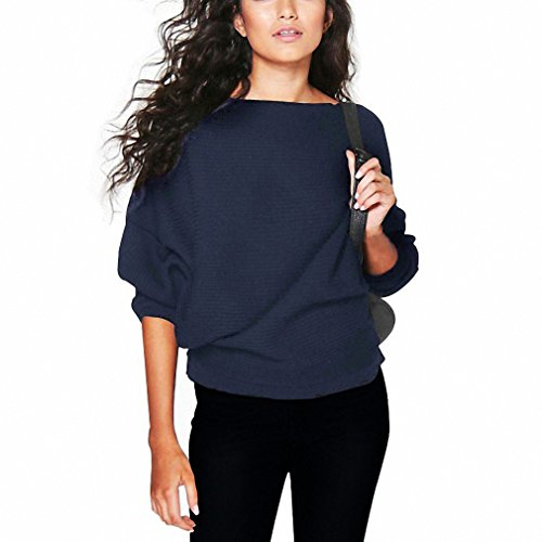 Fashion Women Autumn Loose Long Batwing Sleeve Sweaters and Pullovers Winter Female Sexy Kintted Tops Blue S