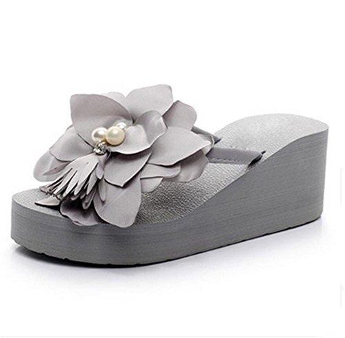 pengweiLadies Summer Flowers Chaussures de plage Chaussures ¨¤ talons hauts Chemin de tra?neau ¨¤ chevrons et pattes de fini ¨¦pais Pattes cool 1 6FMzzZcQ8r