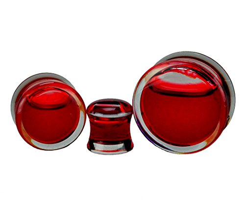 Fake Plug Piercing Jewelry - Mystic Metals Body Jewelry Acrylic Fake Blood Filled Double Flared Plugs (PA-409) - Sold as a Pair (0g (8mm))