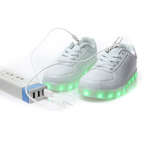 Niños Zapatillas De Niñas una Zapatos Color Blanco Mejor USB Carga Pedir DoGeek Led 7 Más Deportivas Talla Luces q1EfHfCw
