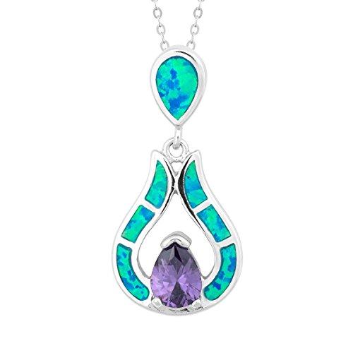 Beaux Bijoux Sterling Silver Created Blue Opal Amethyst CZ Teardrop Pendant with 18 Chain