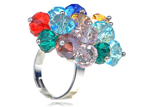 Silver Tone Multi-Colored Colorful Round Beaded Cluster Party Disco Adj Ring