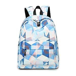 Acmebon Mochila Escolar de Ocio Ligera y Moderna - Cartera Escolar para Niñas y Niños con Lindo Estampado Azul y Blanco 626