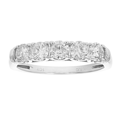 1 cttw AGS Certified SI2I1 5 Stone Diamond Ring 14K White Gold in Size 65