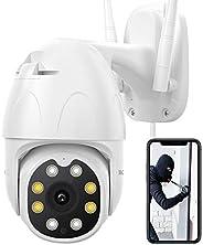 Dragon Touch Cámara de Seguridad Exterior HD 1080P Domo WiFi Cámara 355°Compatible con Alexa y Google Home, Cá
