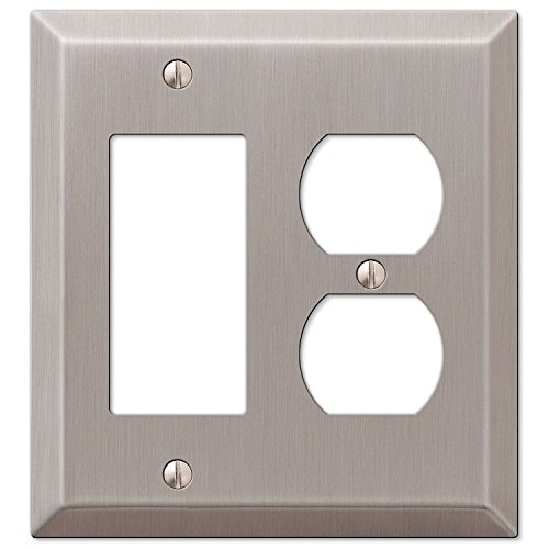 Single GFCI Decora Rocker and Single Duplex 2-Gang Wall Switch Plate, Satin (Single Rocker Wall Plate)