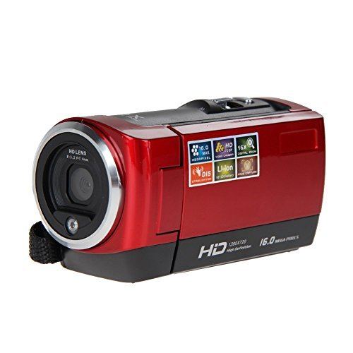 "Fitiger High Definition 720P Digital Camcorder 2.7"" TFT LCD 270 Degree Rotation 16x Zoom Portable Digital Video Recorder-Red"