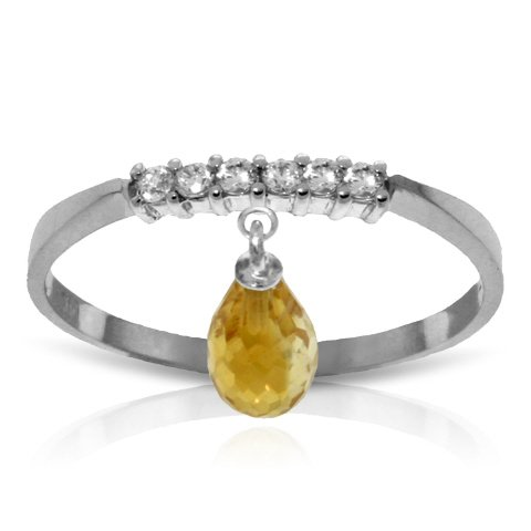 14k White Gold Genuine Diamonds and Natural Citrine Charm Ring - Size 6.5
