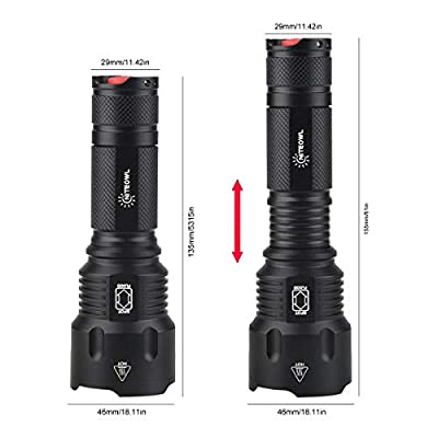 NiteOwl Ultra-Bright Tactical LED Flashlight,Zoomable,Water Resistant, 5 Light Modes for Indoor and Outdoor Use (Batteries Included)