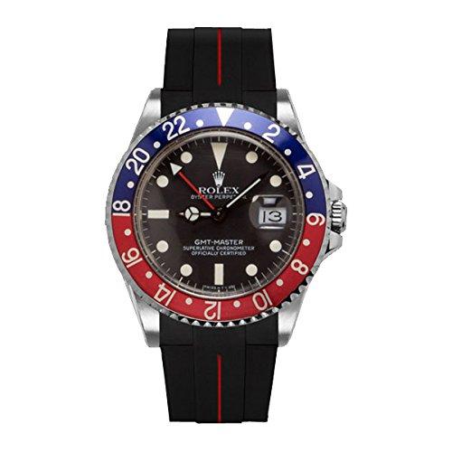 [ラバービー] RubberB ラバーベルト ROLEX GMTマスター専用ラバーベルト(尾錠付き)(ブラック×レッド)※時計は付属しません(Watch is not included)[並行輸入品]  B01IK71Q70