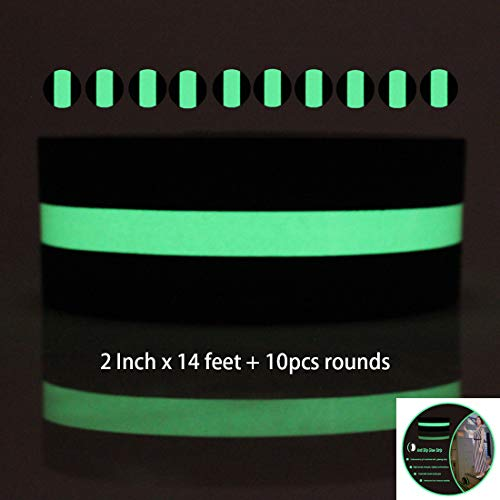 (Hylaea Non-Slip Glow In The Dark Tape, Anti-Slip Grip Tape for Stairs and Gaffer, 2 Inch x 14 Feet, Anti Slip Tape,)