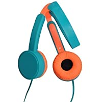 MAXROCK Foldable Over-head Kids Headphones Travel Heasets with In-line Mic with Adjustable Headbands 3.5mm Universial Jack (Blue orange)