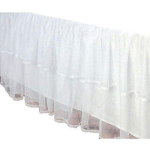 Tulle 2-Layered Lined Bed Skirt Any Drop Queen King Twin Full- detachable option