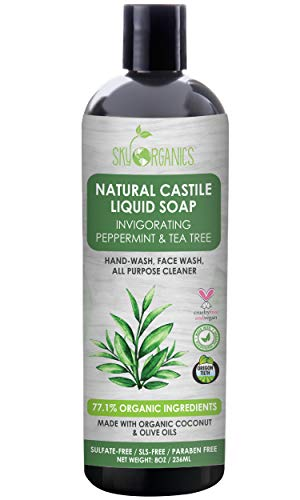 Castile Soap Organic Peppermint Tea Tree by Sky Organics (8oz), Plant Based Liquid Soap and All Purpose Wash, Vegan & Cruelty-Free, Mint & Tea Tree Essential Oils Natural Acne Wash Savon de Marseille