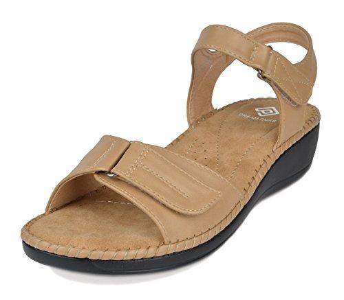 DREAM PAIRS Women's Truesoft_05 Beige Low Platform Wedges Slingback Sandals Size 8.5 B(M) US -